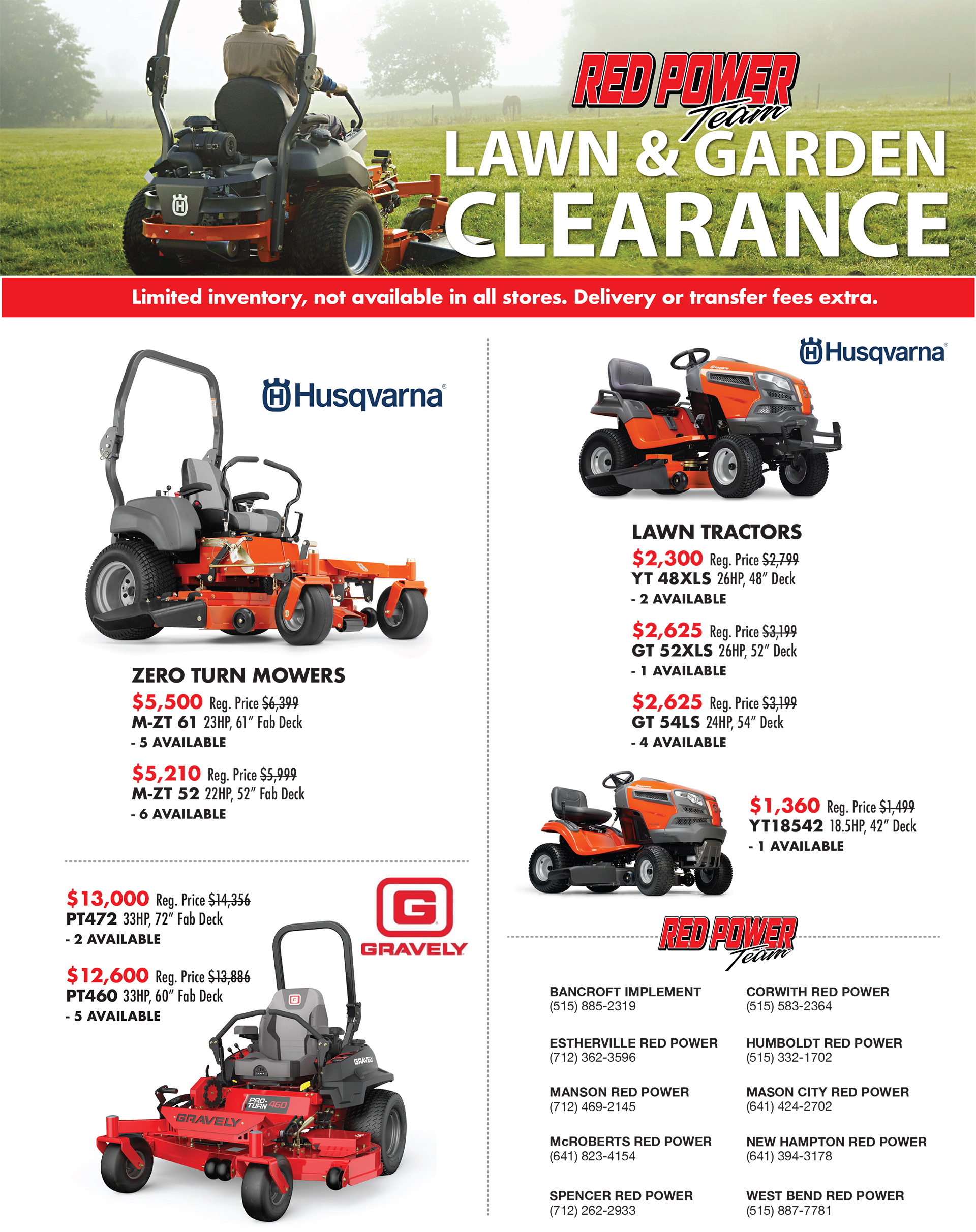 2018 HUSQ SPRING CLEARANCE FLYER